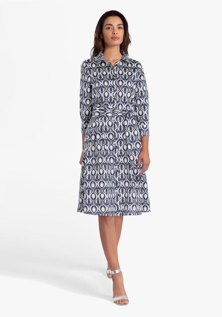Navy kleed met geometrische print