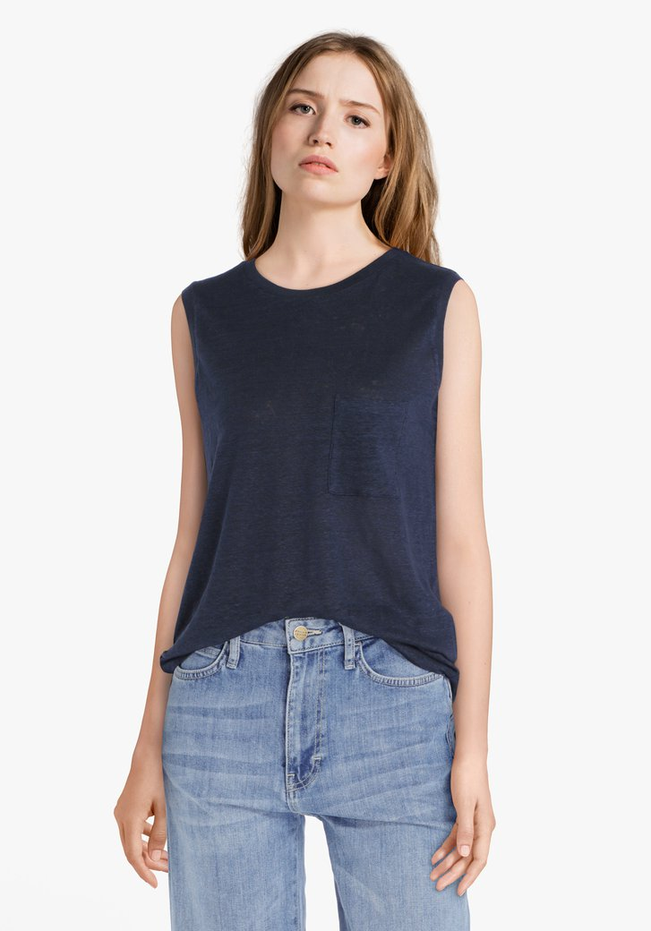 Navy linnen top
