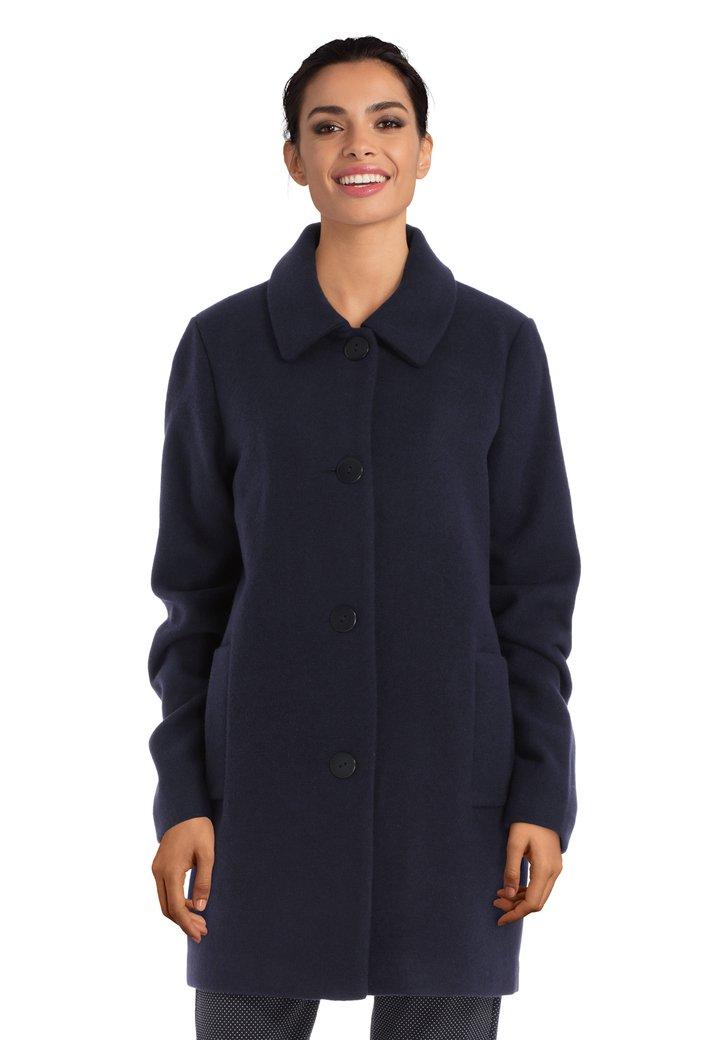 Navy mantel met col revers