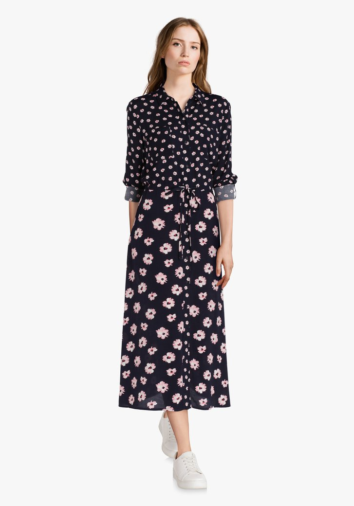 Navy maxidress met roze bloemen in viscose