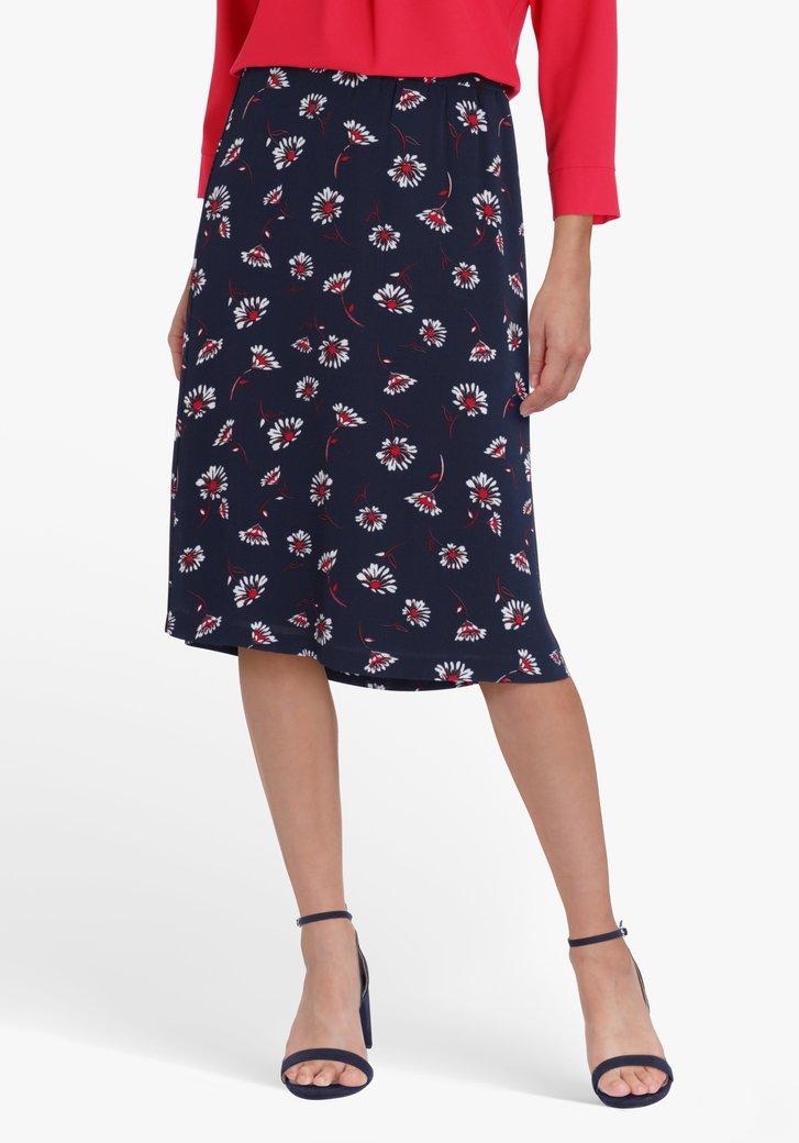 Navy rok met bloemenprint en elastische taille