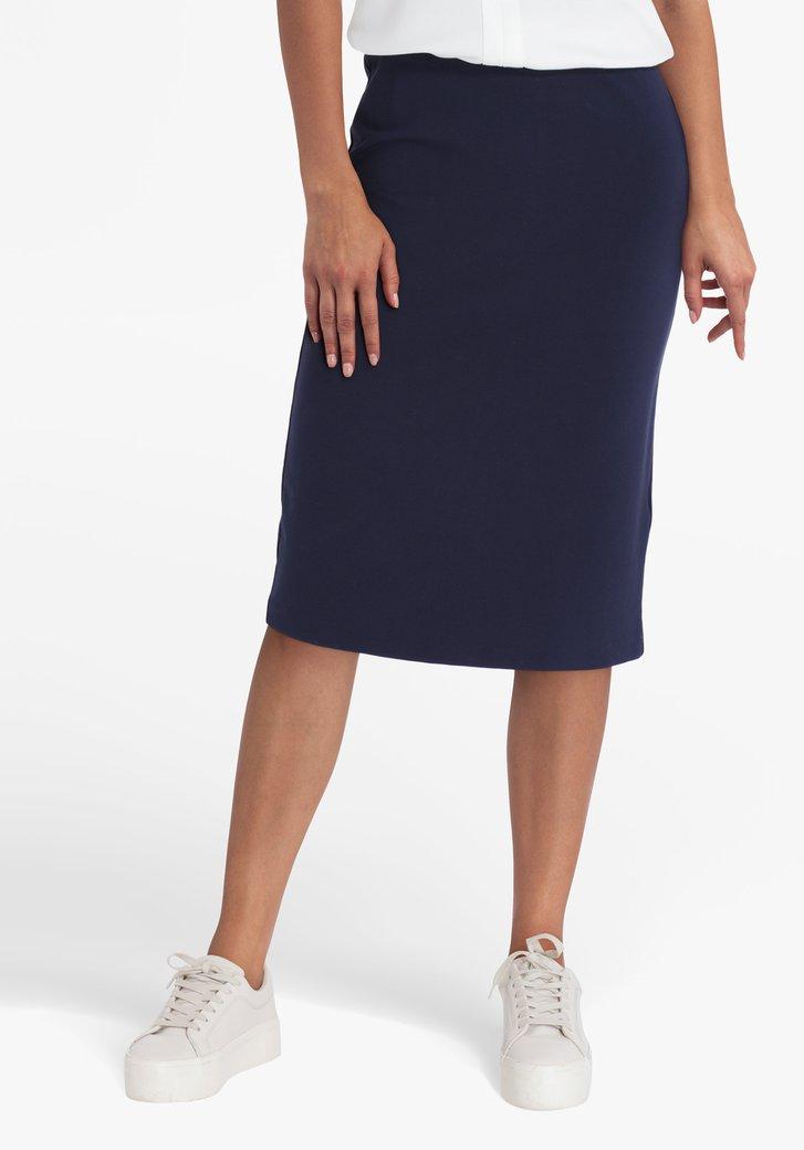 Navy rok met elastische tailleband