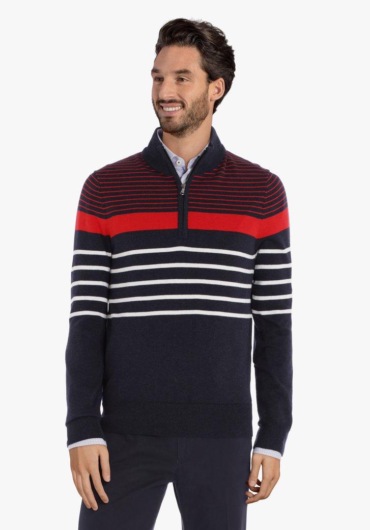 Navy-rood gestreepte trui
