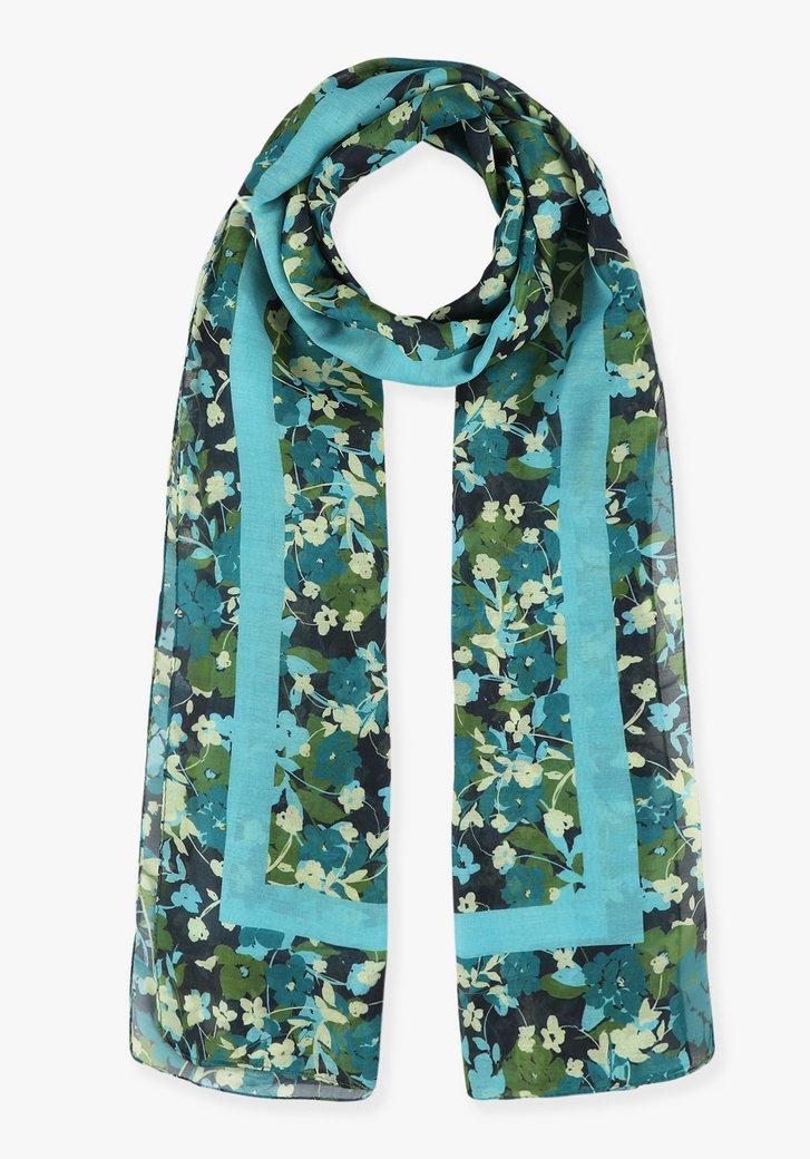 Navy sjaal met blauw-groene bloemen