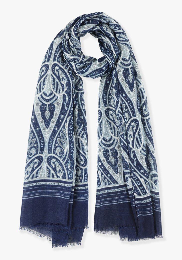 Navy sjaal met blauw-witte print