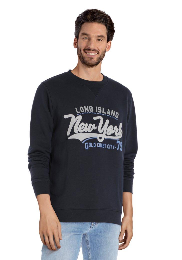 Navy sweater met Long Island-logo