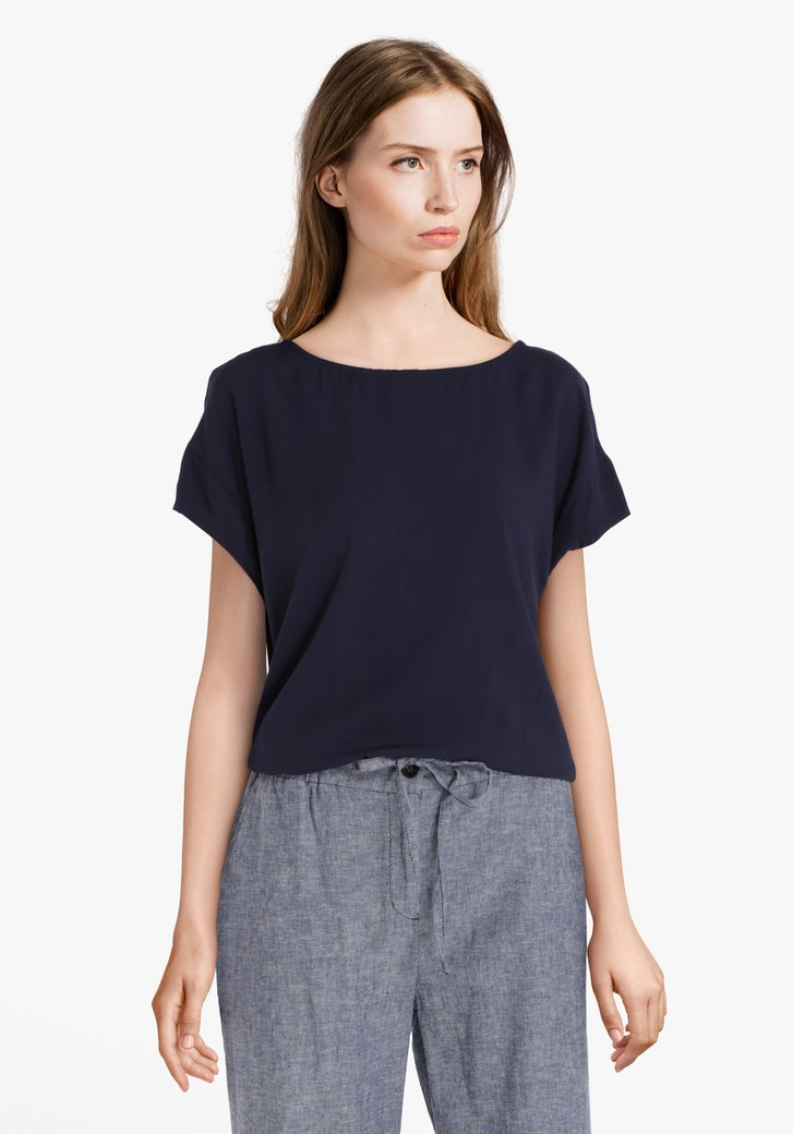 Navy T-shirt in viscose