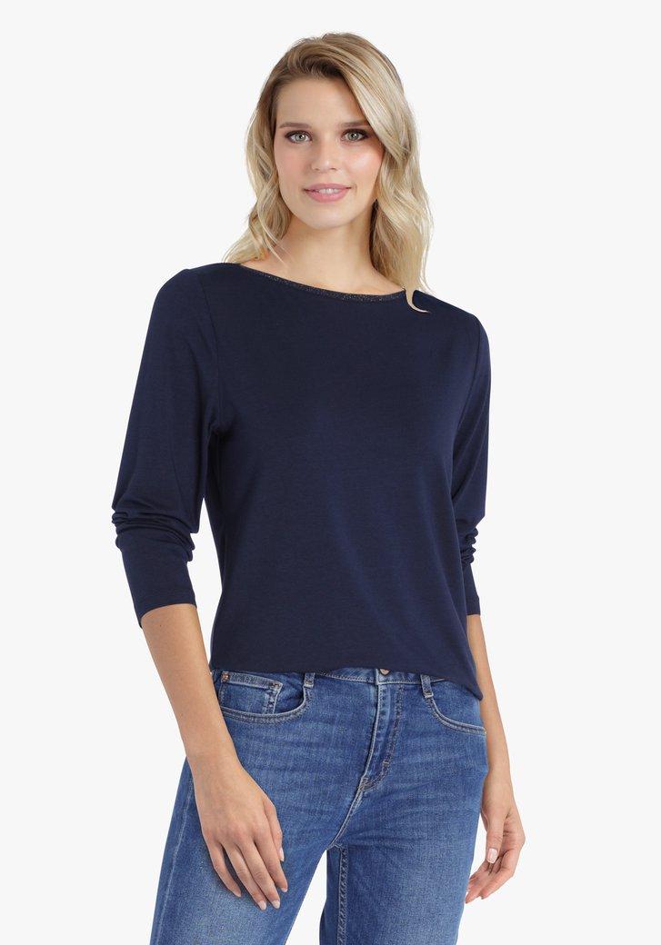 Navy T-shirt met 3/4 mouwen