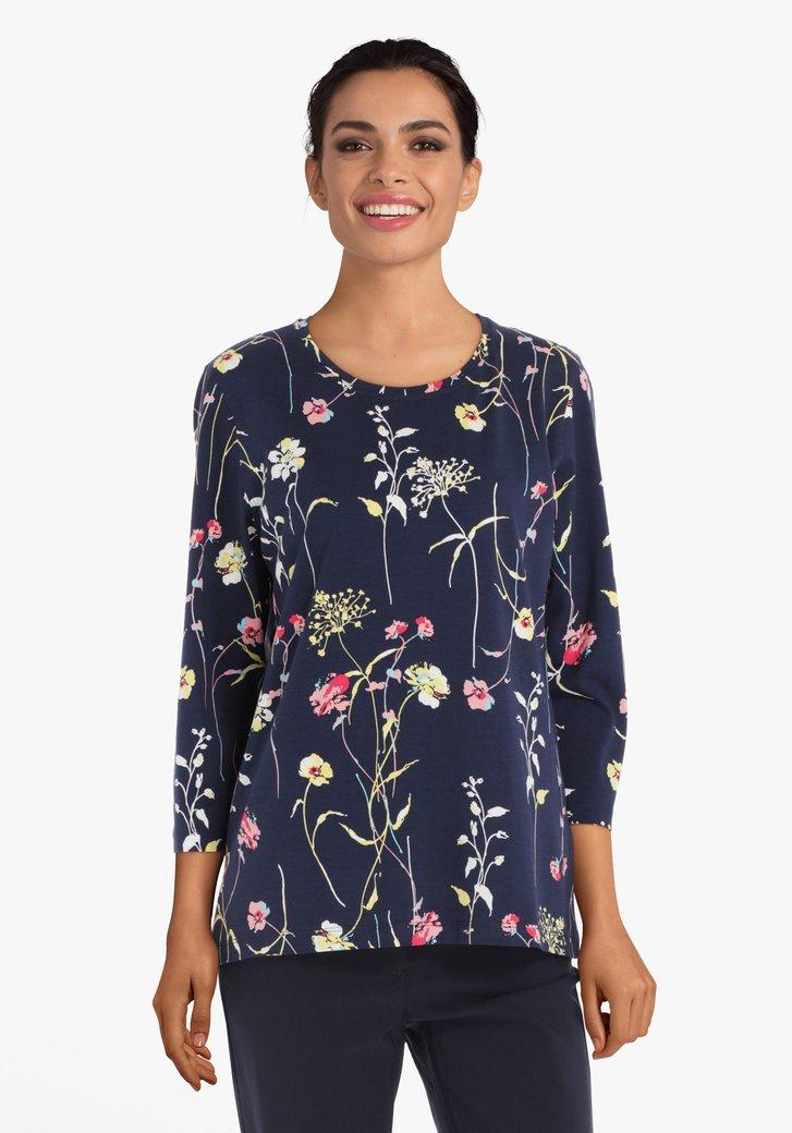Navy T-shirt met bloemen