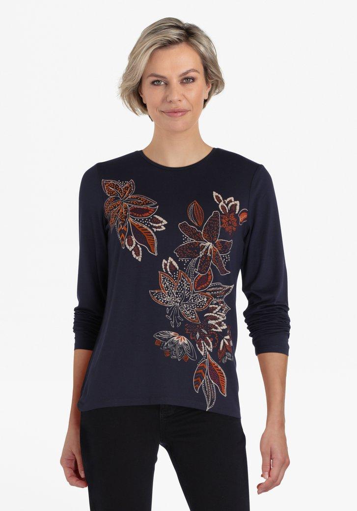 Navy T-shirt met bloemenprint