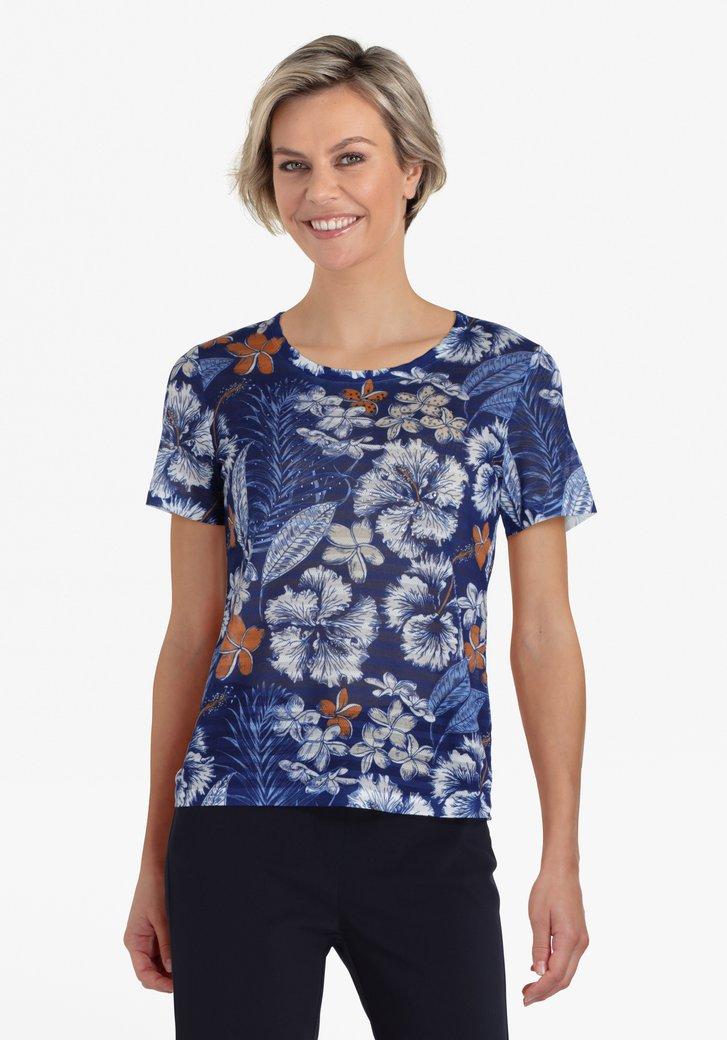Navy T-shirt met bloemenprint in lichte kleuren