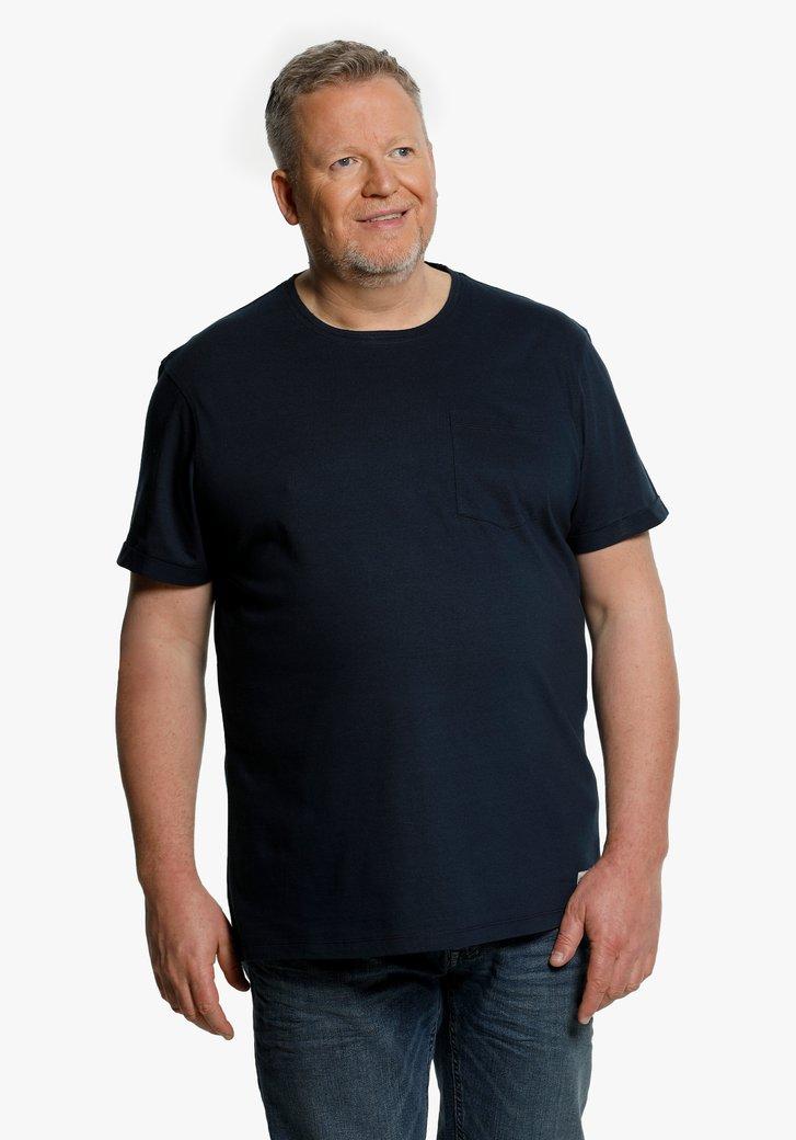 Navy T-shirt met borstzakje