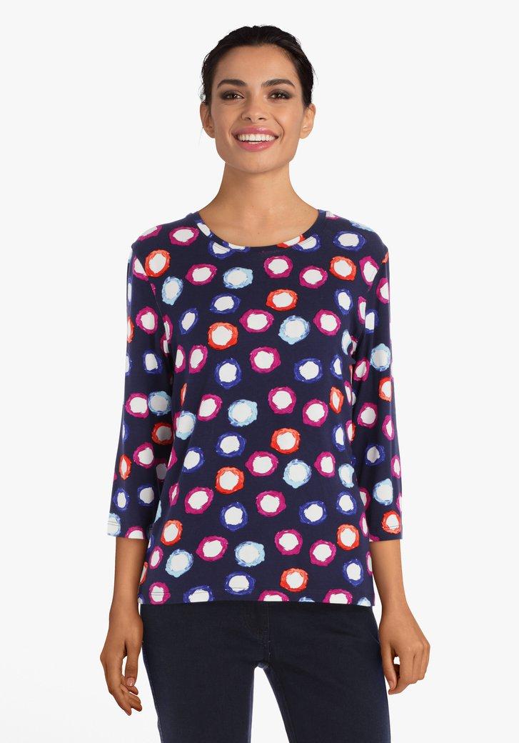 Navy T-shirt met kleurrijke bollen