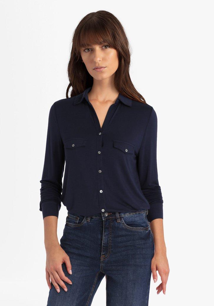 Navy T-shirt met knopenlijst