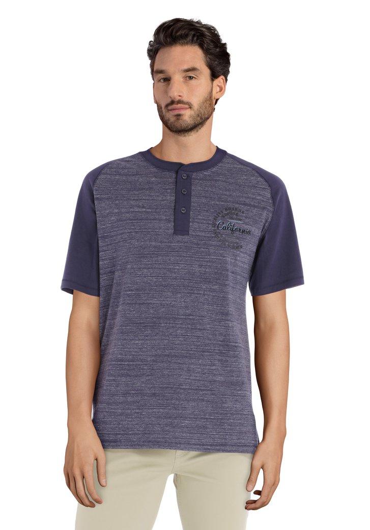 Navy T-shirt met korte knopenlijst