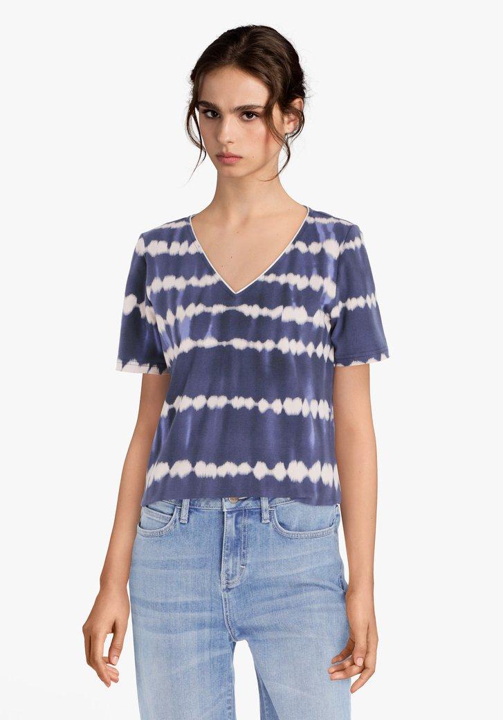 Navy T-shirt met met tie-dye motief