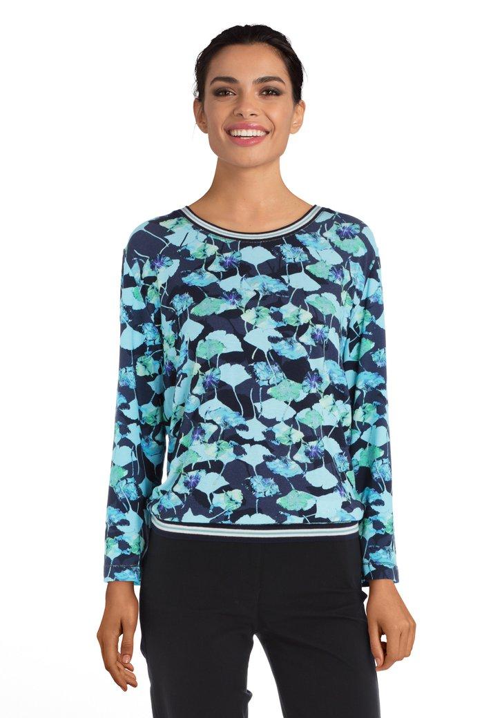 Afbeelding van Navy T-shirt met turquoise bloemen