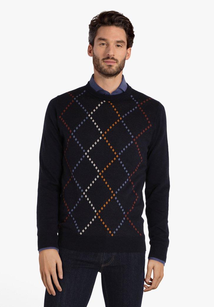 Navy trui met gekleurde ruiten