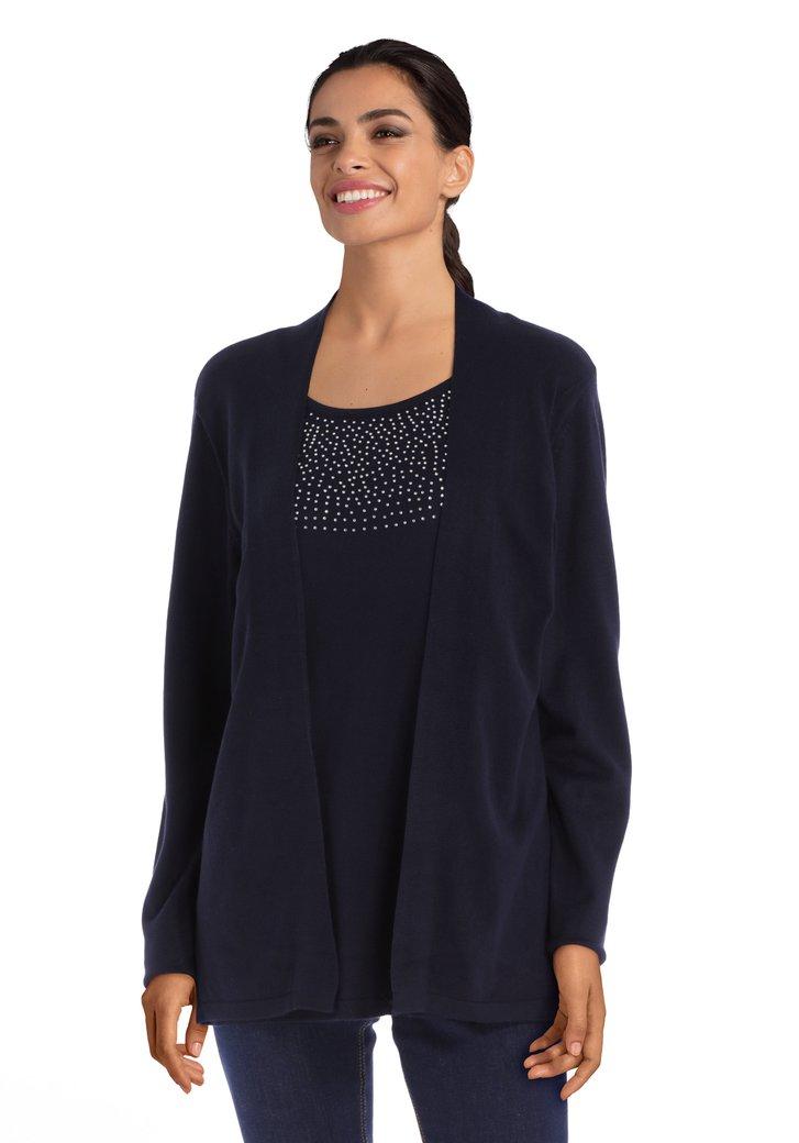 Afbeelding van Navy trui met strass