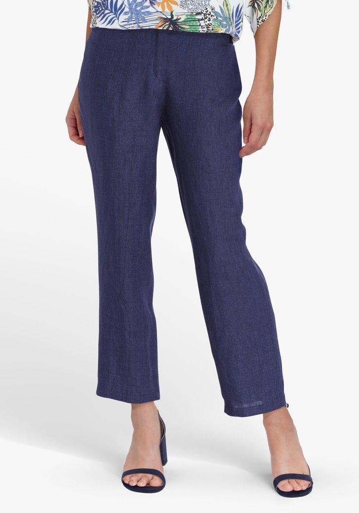 Navy wijde broek in jeans look - enkelhoogte