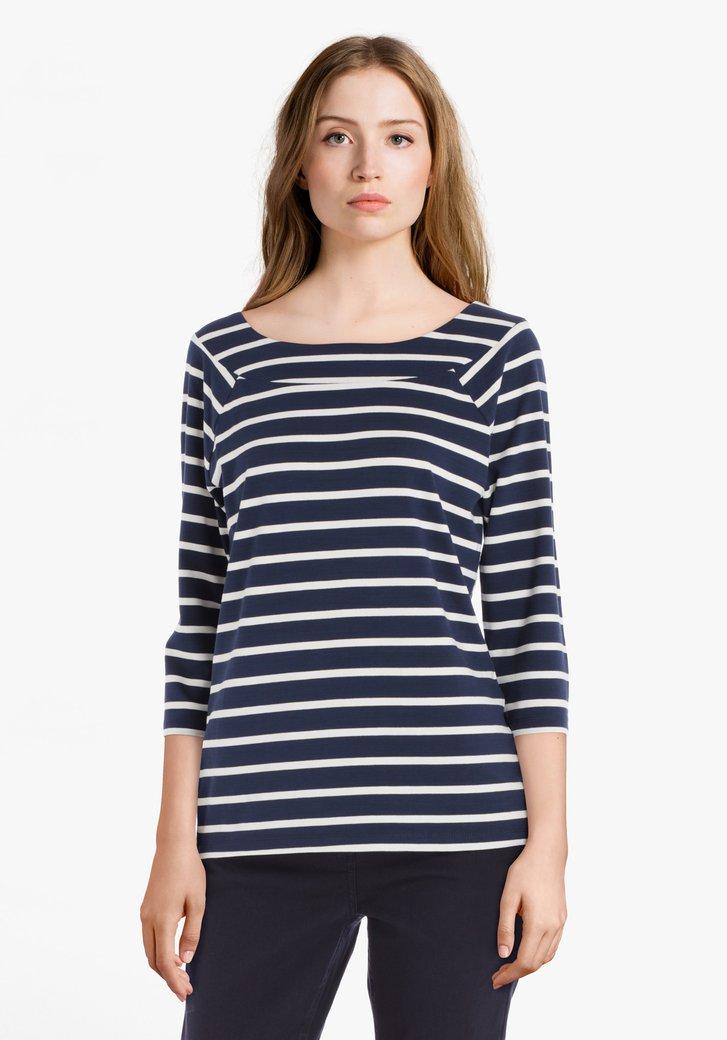 Navy-wit gestreept T-shirt in viscose