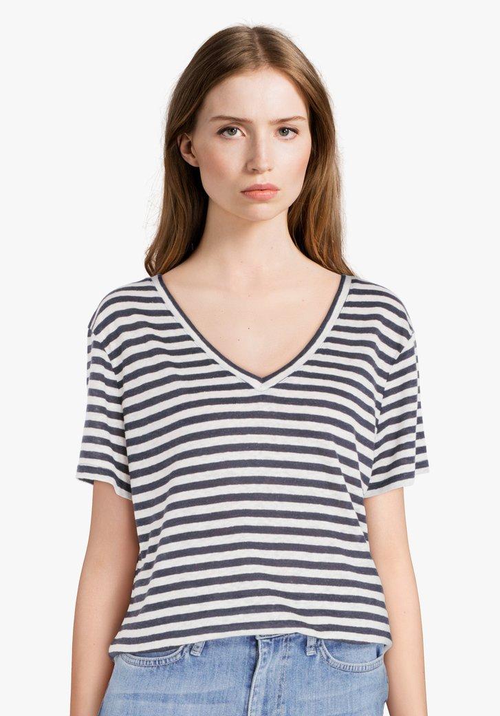 Navy-wit gestreept T-shirt met linnen