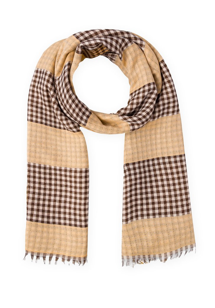Oker-bruin geruite sjaal