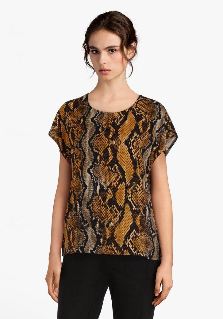 Okerkleurige blouse met slangenprint