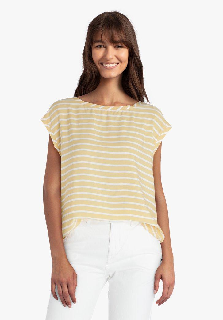 Okerkleurige blouse met witte strepen