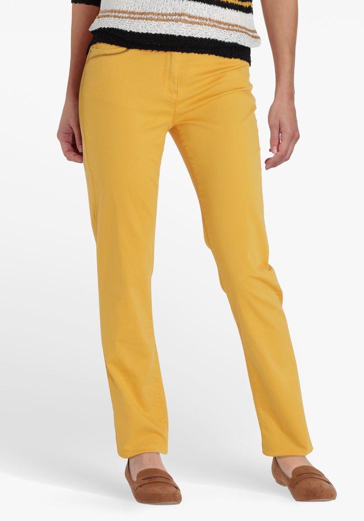 Okerkleurige broek met kleine parels