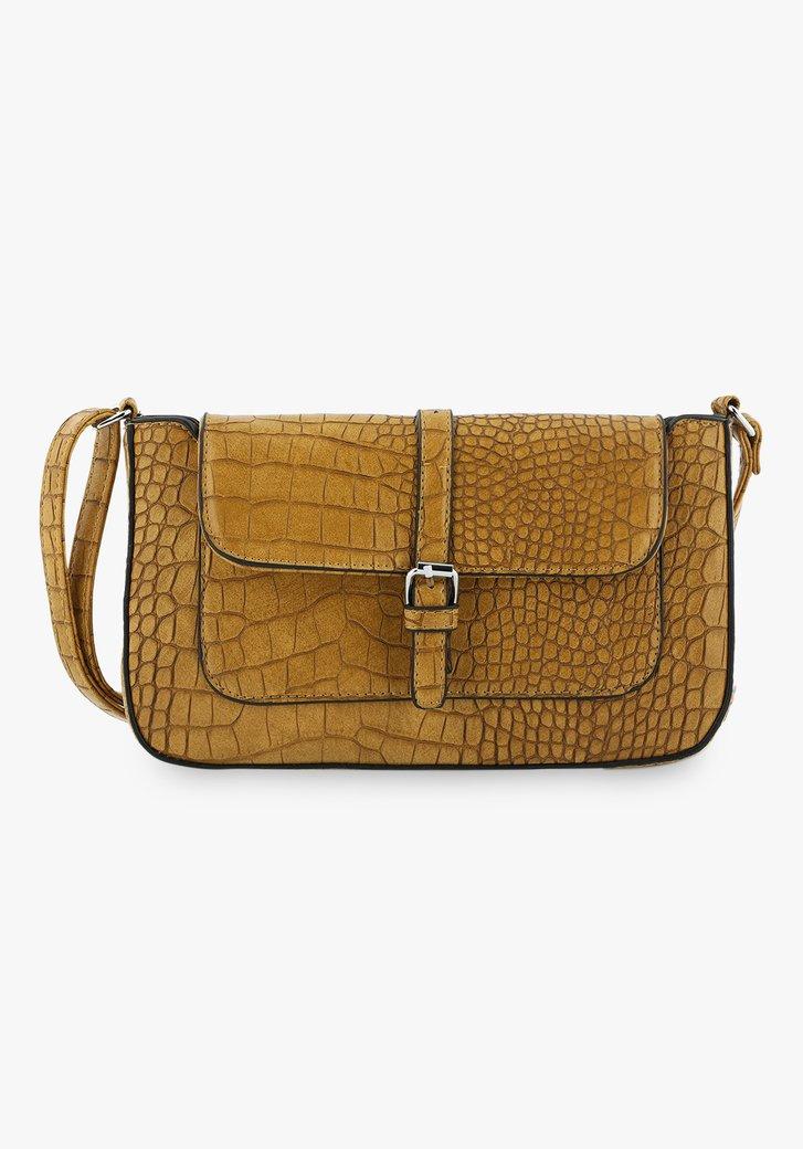 Okerkleurige handtas met slangenprint