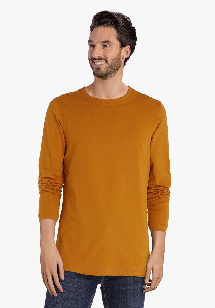 Okerkleurige T-shirt met lange mouwen