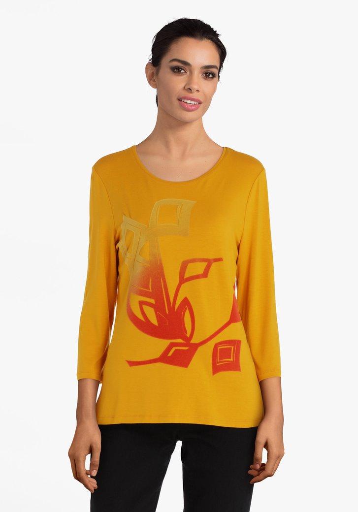 Okerkleurige T-shirt met velvet print