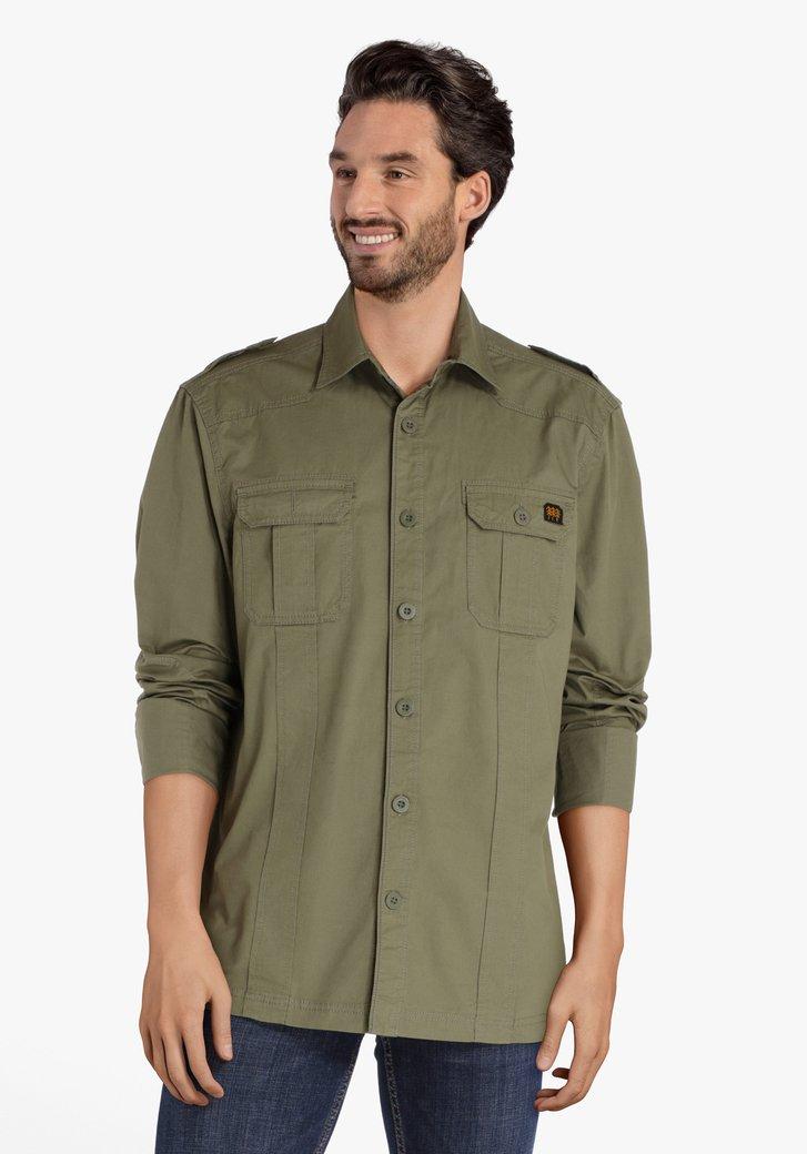 Olijfgroen hemd met zakken - regular fit