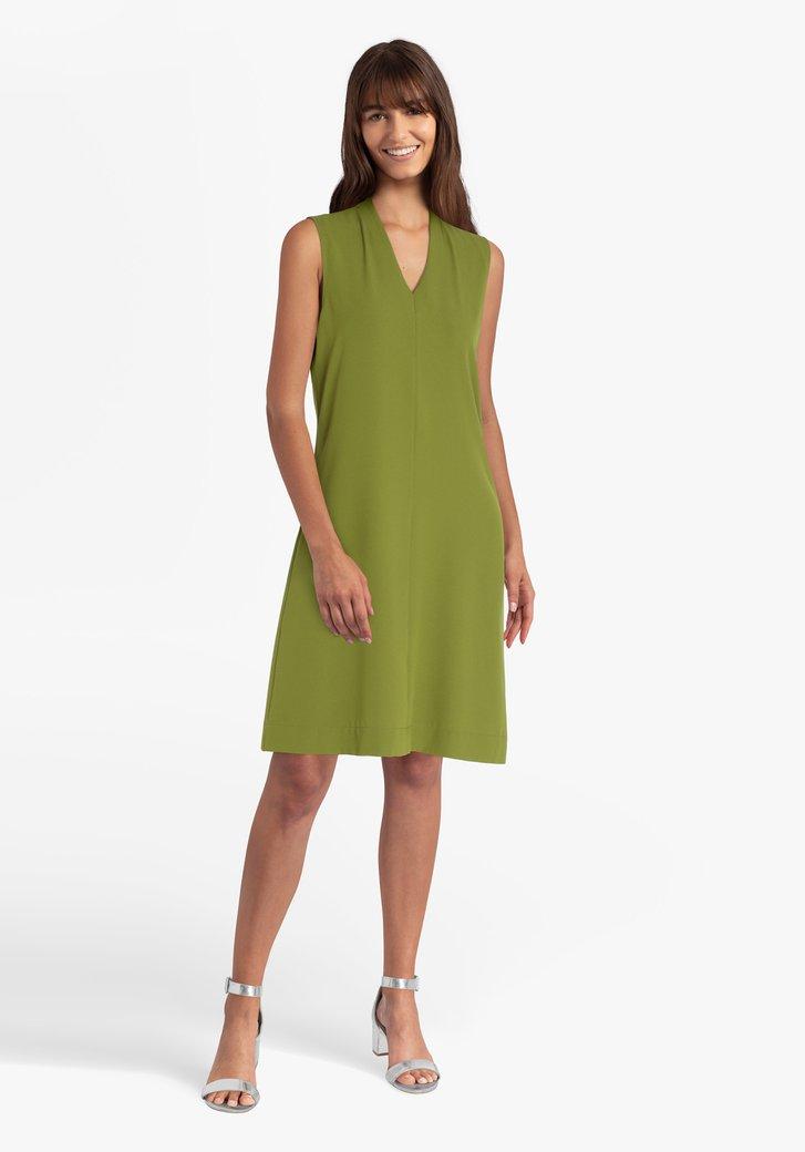 Olijfgroen kleed met V-hals