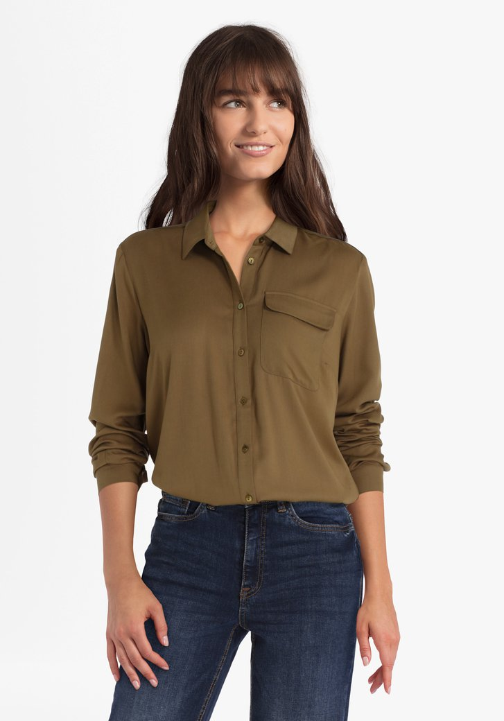Olijfgroene blouse in viscose
