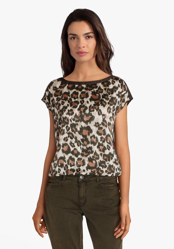 Olijfgroene blouse met panterprint