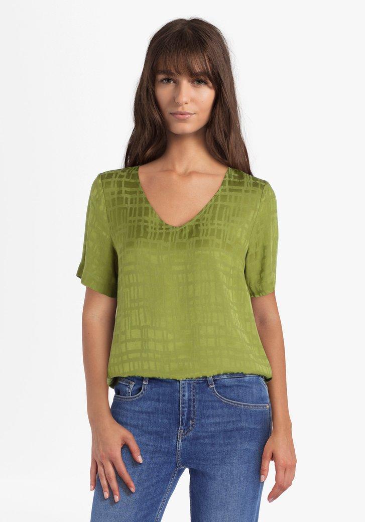 Olijfgroene geruite blouse in viscose