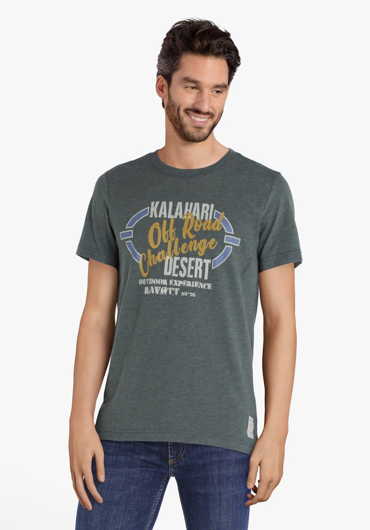 Olijfgroene T-shirt met opschrift