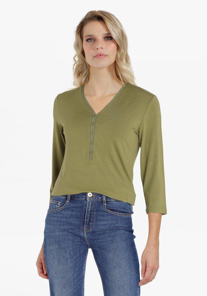 Olijfgroene T-shirt met V-hals