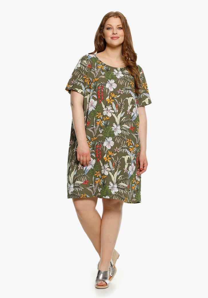 Olijgroen kleed met tropische print