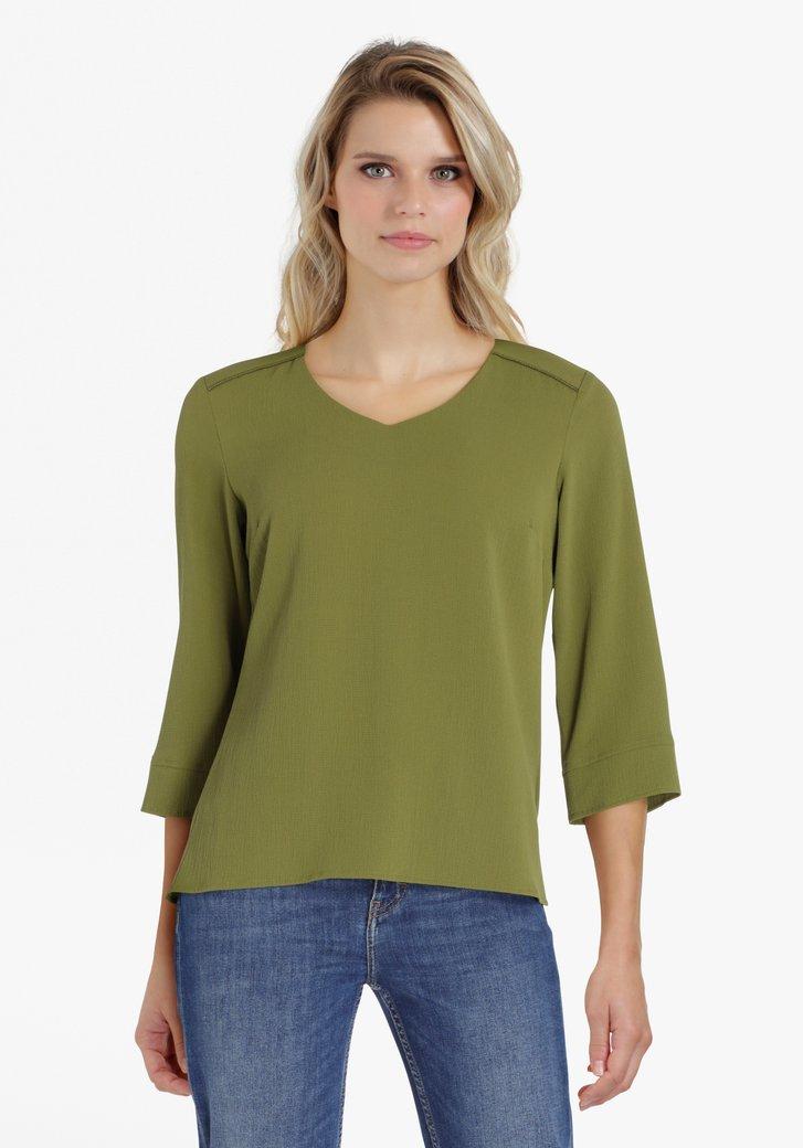 Olijgroene blouse met V-hals