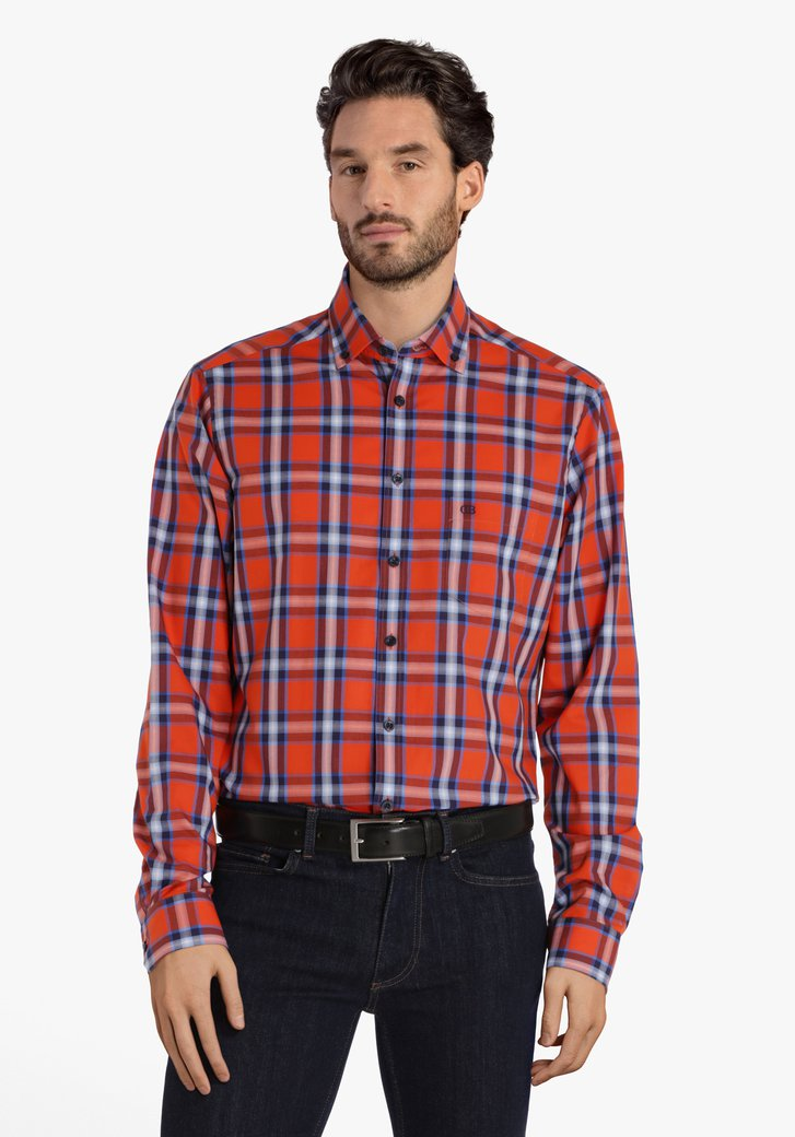 Oranje-blauw geruit hemd - regular fit