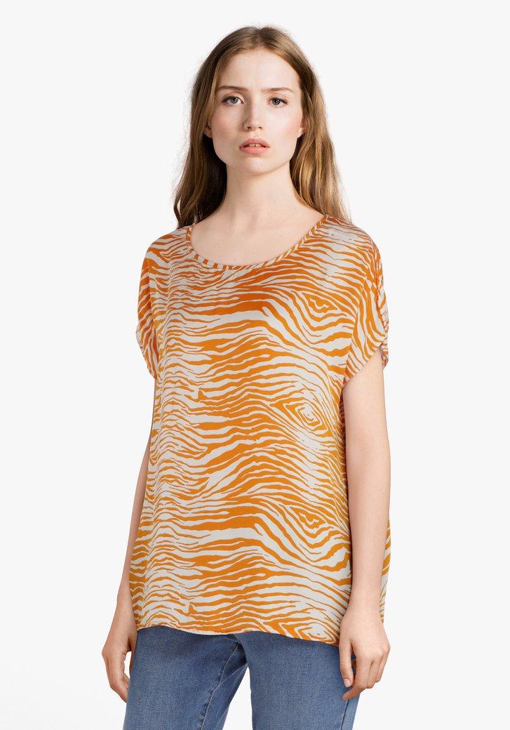 Oranje blouse in viscose met tijgerprint