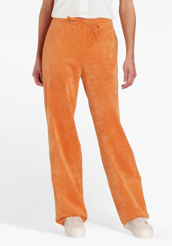 Oranje broek in ribfluweel - straight fit