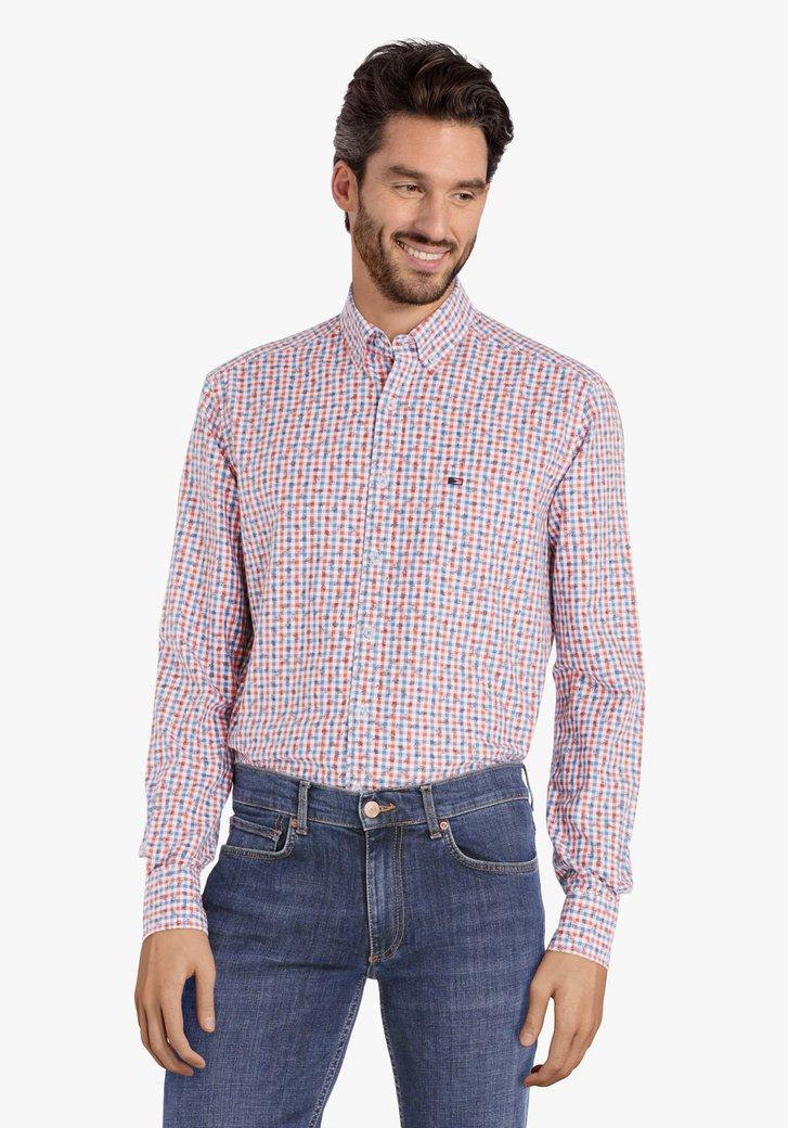 Oranje geruit hemd met miniprint – regular fit