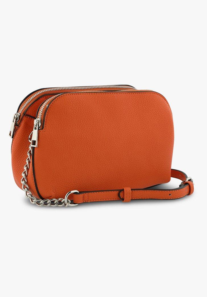 Oranje handtas in lederlook met drie vakken