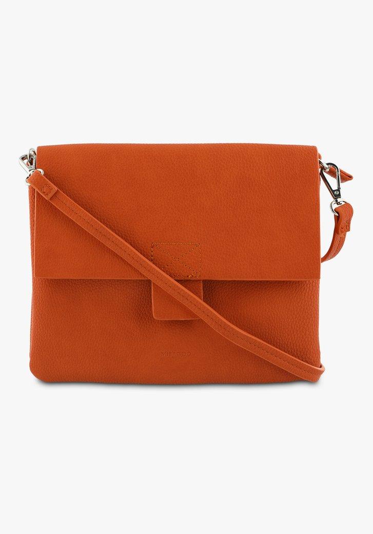 Oranje handtas in lederlook met twee vakken