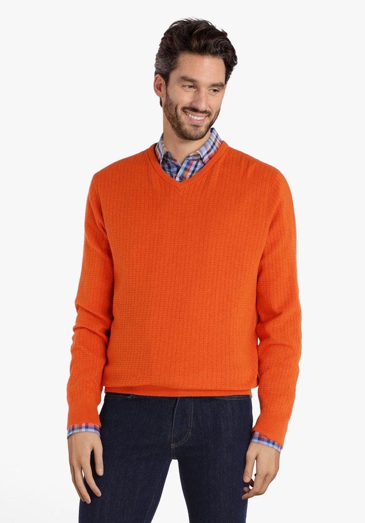 Oranje katoenen trui in structuurstof met V-hals