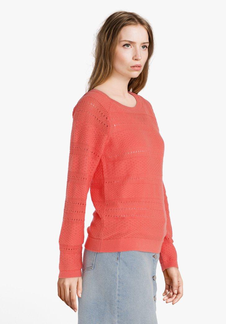 Oranje katoenen trui met ajour motiefjes